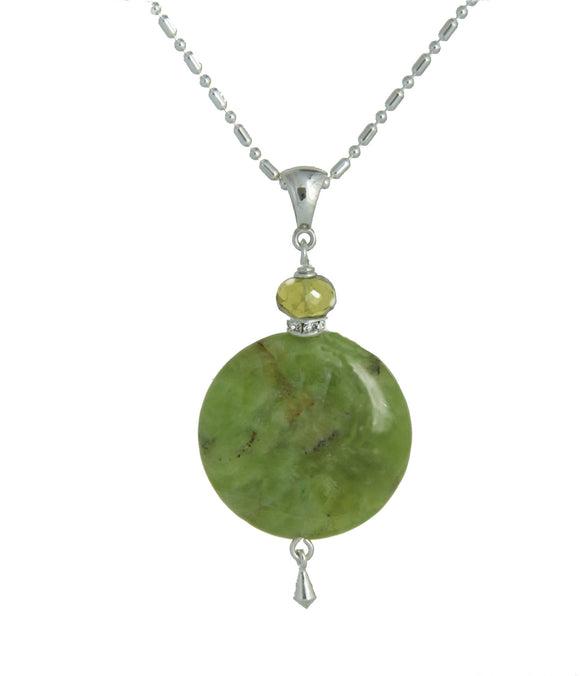 Australian Jade & Golden Pyrite Necklace - Heart Chakra