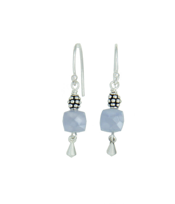 Chalcedony Cube Earrings for Throat Chakra