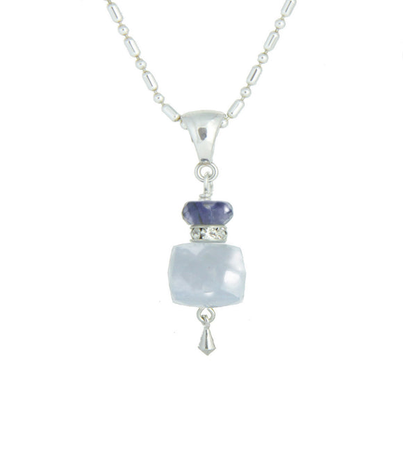 Chaldeony Cube and Iolite Necklace for Throat Chakra