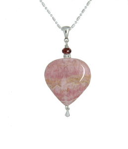 Rhodochrosite Heart and Garnet Necklace for Heart Chakra
