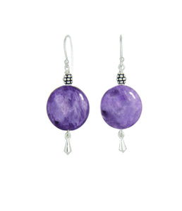 Russian Charoite Earrings for Crown Chakra