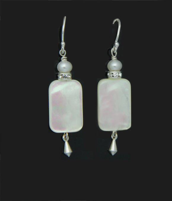 Mother of Pearl and Pearl Earrings for Crown Chakra