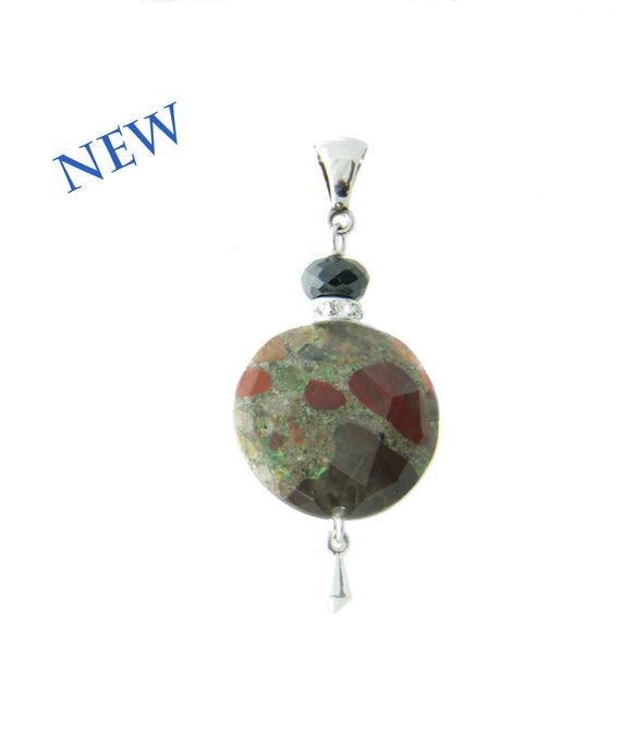 Spotted Jasper and Black Spinel Pendant for Root Chakra