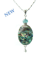 Abalone and Apatite Necklace for Throat Chakra