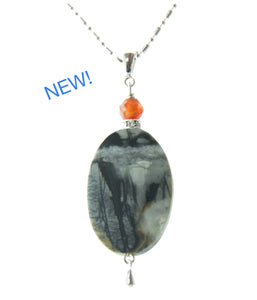 Picasso Jasper and Carnelian Necklace for Third Eye Chakra
