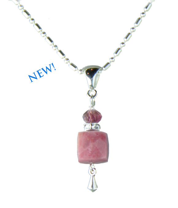 Rhodonite and Tourmaline Necklace for heart chakra
