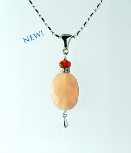 Peach Moonstone and Mandarin Carnelian Necklace for Sacral Chakra
