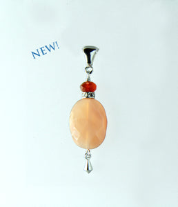 Peach Moonstone and Mandarin Carnelian Pendant for Sacral Chakra