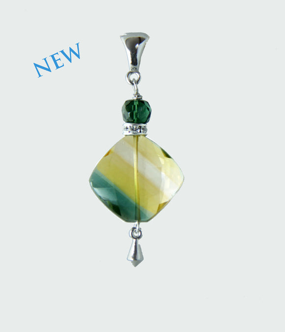 Bi-Color Quartz and Green Quartz Pendant for Core Chakra