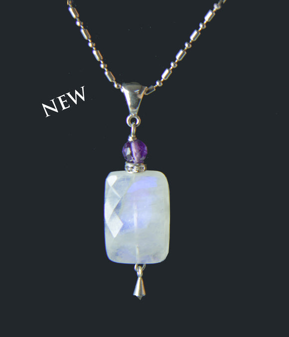 Rainbow Moonstone and Amethyst Necklace for Crown Chakra