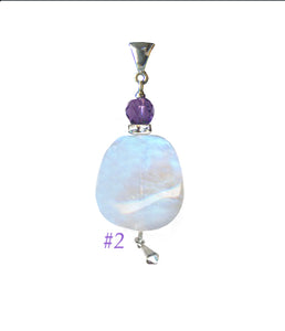 Moonstone and Amethyst Pendant for Crown Chakra