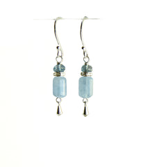 Aquamarine and London Blue Topaz Earrings for Throat Chakra