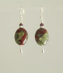 Dragon Blood Jasper and Garnet Earrings for Heart Chakra