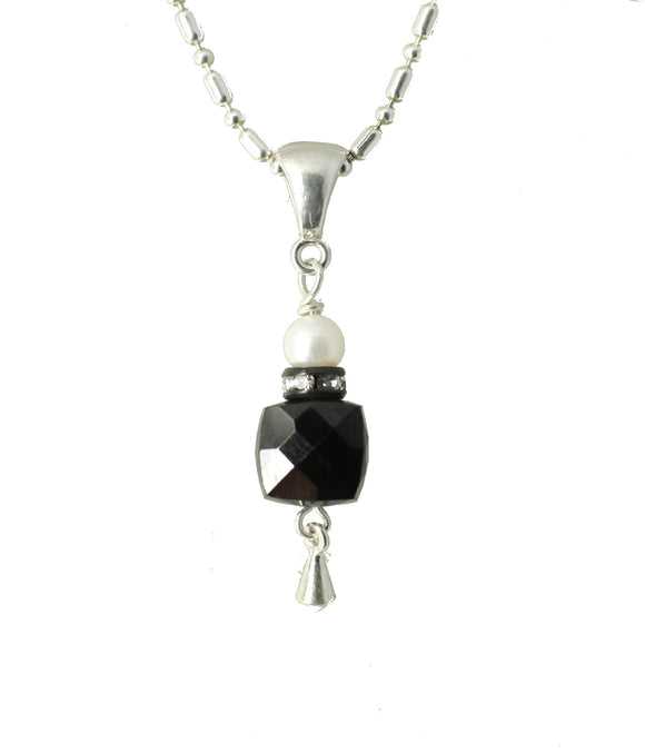 Black Spinel and Pearl Necklace for Root Chakra