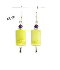Korean Jade and Amethyst Earrings for Heart Chakra
