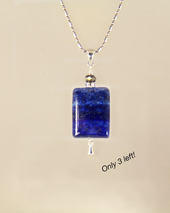 LAPIS Rectangle With Pyrite Necklace For Third Eye Chakra