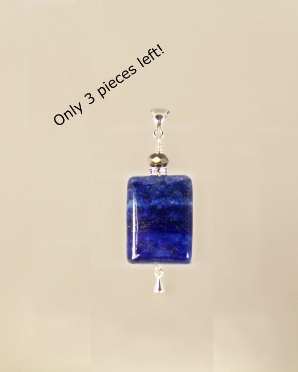 LAPIS Rectangle & Pyrite Pendant for Third Eye Chakra
