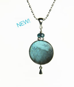 Labradorite and London Blue Topaz Necklace for Throat Chakra