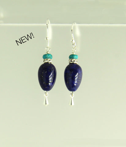 Lapis Lazuli Teardrop and Turquoise Earrings for Third Eye Chakra