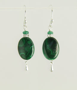 Malachite and Emerald Earrings For Heart Chakra