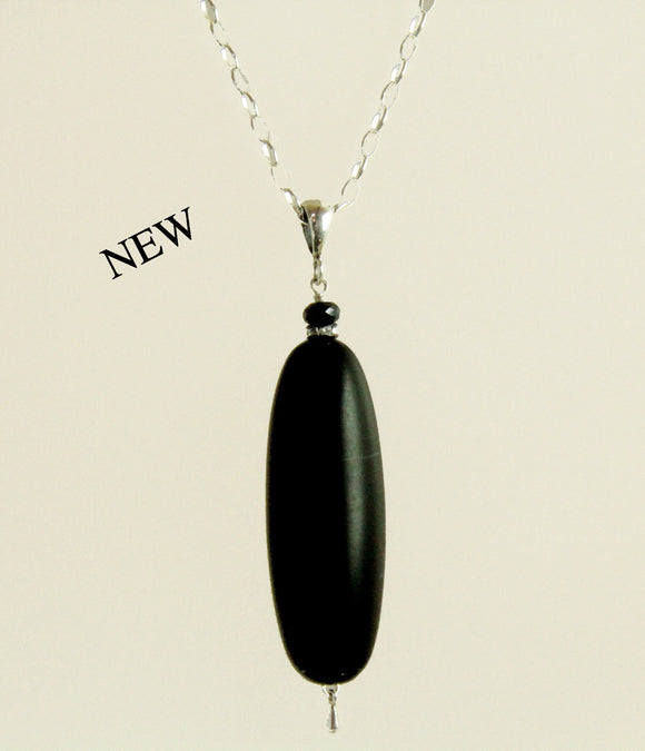 Matte  Black Onyx & Black Spinel Designer Necklace for Root Chakra