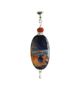 Orange Sodalite and Fire Agate Pendant for Third Eye Chakra