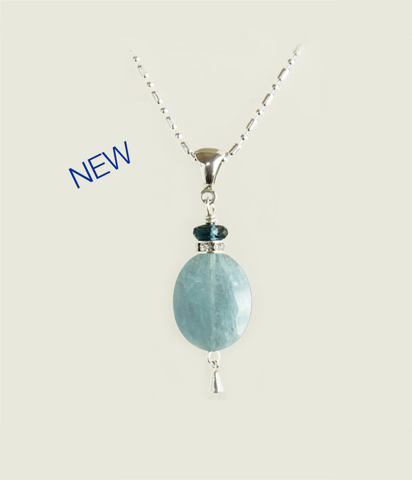Aquamarine Oval and London Blue Topaz Necklace for Throat Chakra