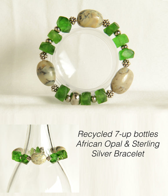 Recycled Glass, African Opal & Sterling Silver Bracelet # B122