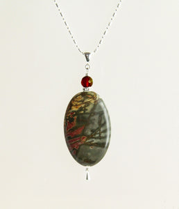 Red Creek Jasper #1 and Carnelian Necklace for Root Chakra