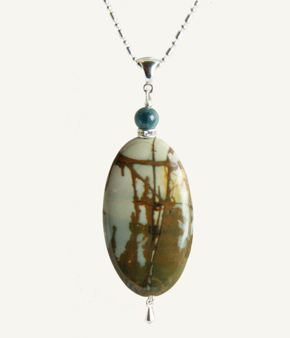 Red Creek Jasper #3 and Apatite Necklace for Root Chakra