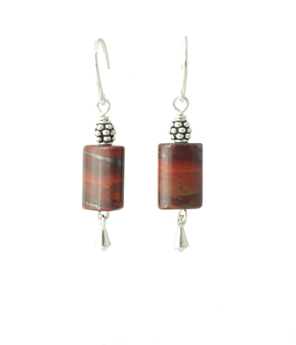 Red Jasper Rectangle Earrings - root chakra earrings