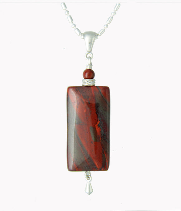 Red Jasper Rectangle Necklace - root chakra necklace