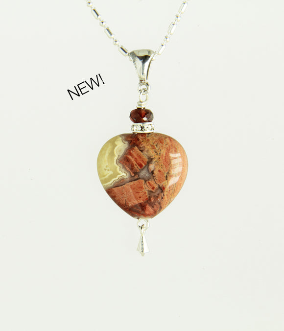 Red Jasper Heart and Garnet Necklace for Root Chakra