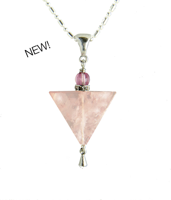 Rose Quartz Triangle and Tourmaline Necklace for Heart Chakra