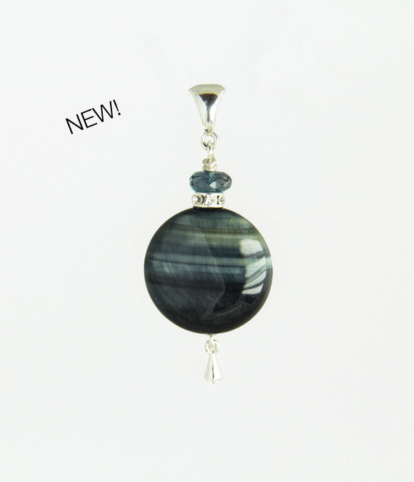 Round Blue Tiger Eye and London Blue Topaz Pendant for Throat Chakra