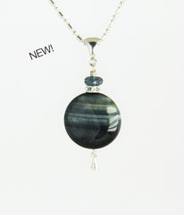Blue Tiger Eye Coin and London Blue Topaz Necklace for Throat Chakra