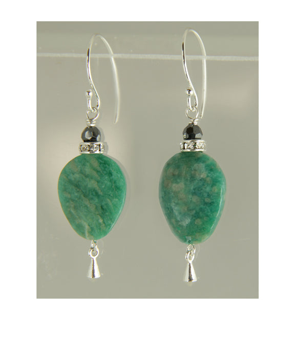 Russian Amazonite and Hematite Earrings for Heart Chakra
