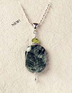 Seraphinite and Peridot Necklace For Heart Chakra