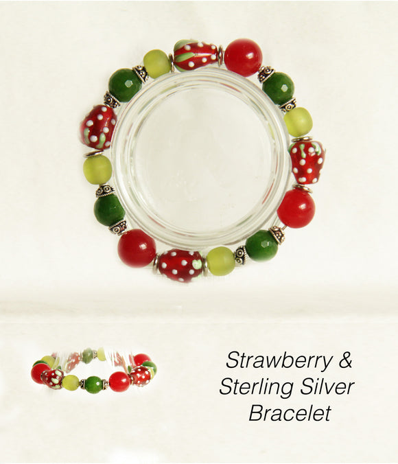 Strawberries & Sterling Bracelet for Heart Chakra