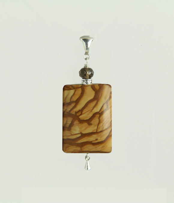 Wood Jasper and Smoky Quartz Pendant