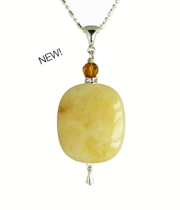 Yellow Jade and Amber Necklace for Core Chakra