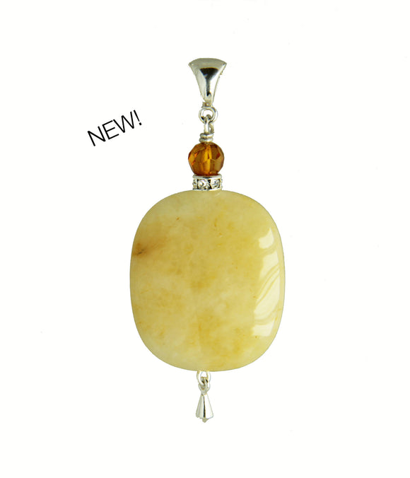 Yellow Jade and Amber Pendant for Core Chakra