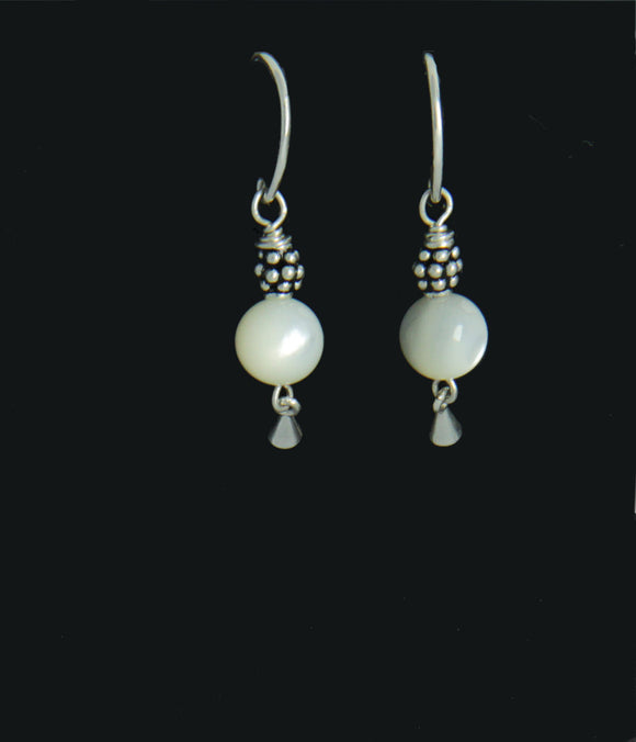 Mother of Pearl Round Earrings for Crown Chakra