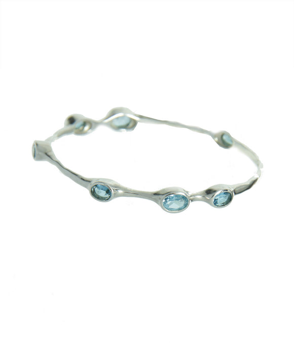Swiss Blue Topaz Bangle Bracelet For Throat Chakra