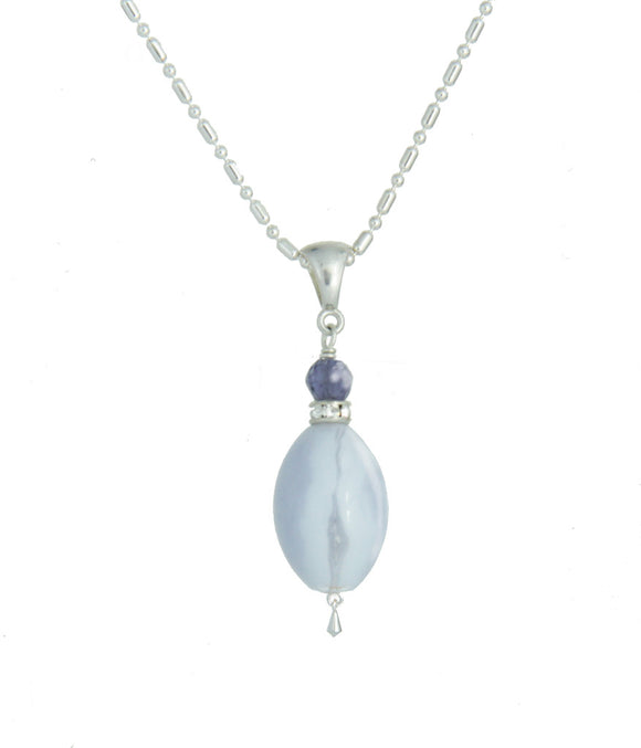Blue Lace Agate Egg and Iolite Necklace for Throat Chakra