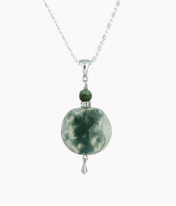 Moss Agate and Tourmaline Necklace for Heart Chakra