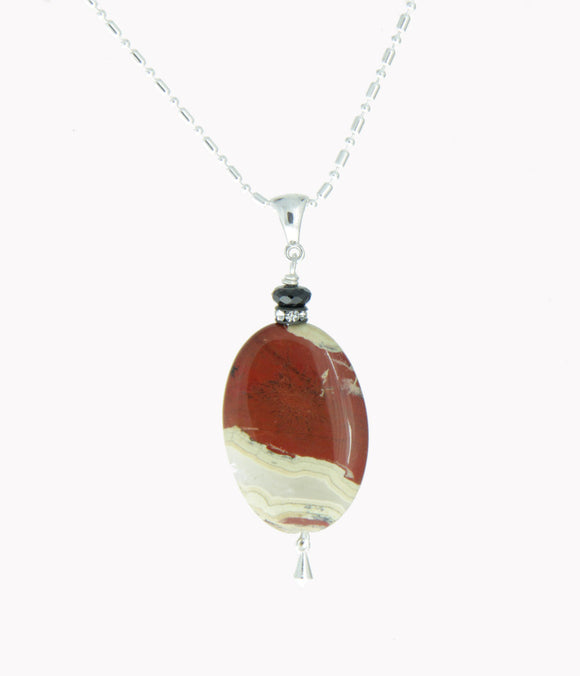Red Picture Jasper and Black Spinel Necklace #2 - Root Chakra Necklace