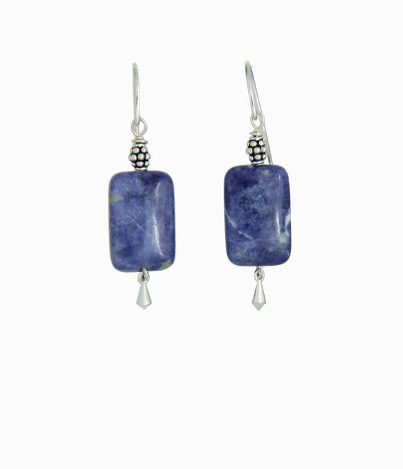 Brazilian Sodalite Earrings For Throat Chakra