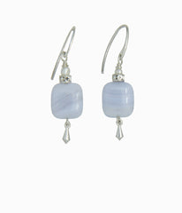 Blue Lace Agate and Pearl Earrings for Throat Chakra