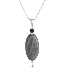 Gray Cat's Eye and Black Spinel Necklace - Root Chakra